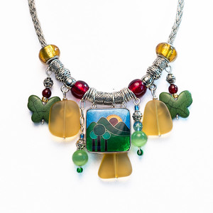Silver Wire Viking Knit Charm Style Choker Necklace with Multi-colored Beach Glass Cloisonné Nature Scene