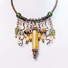 Bronze Wire Viking Knit Charm Style Necklace with Glass Beads