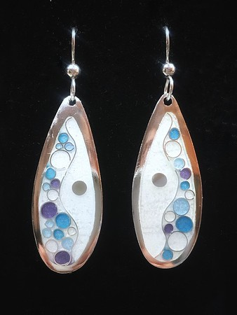 Champlevé and Cloisonné earrings in fine silver.  Wave and bubble pattern with embedded fine silver dot. Sterling ear wires. Length is approximately 2 1/4 inches from top of ear wire to bottom. Amazing sparkle in the light. 110.00