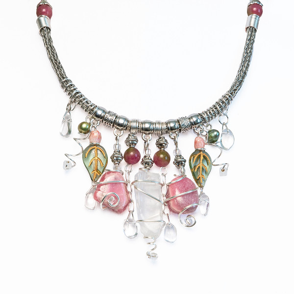 Silver Handmade Viking Knit Choker Necklace Charm Style with Crystals and Rhodochrosite