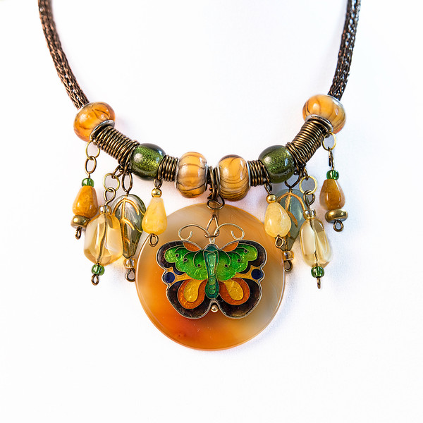 Smoky Quartz Colored Viking Knit Choker Charm Style Necklace with Glass Beads, Cloisonné Butterfly
