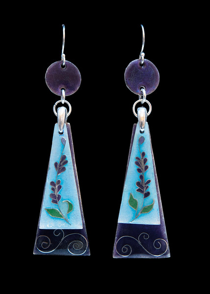 Cloisonné enamel earrings in a lavender flower motif. 3 moving sections.  All fine silver and Argentium findings. Approximately 3 inches long from top of ear wires to bottom of purple trapezoid. Very swingy and dramatic!  175.00