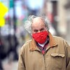 BEN GARVER — THE BERKSHIRE EAGLE<br /> Tom Borosso wears a mask on North Street in Pittsfield.<br /> Monday, May 4, 2020.