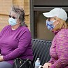 BEN GARVER — THE BERKSHIRE EAGLE<br /> CHristine Shunamon and Anne Weahry sit in the Dunham Mall  in Pittsfield.<br /> Monday, May 4, 2020.