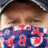 BEN GARVER — THE BERKSHIRE EAGLE<br /> Scott Kirchner wears a Red Sox Mask in Downtown Pittsfield.<br /> Monday, May 4, 2020.