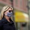 BEN GARVER — THE BERKSHIRE EAGLE<br /> Tammy Lahart wears a mask in dunham Mall in Pittsfield.<br /> Monday, May 4, 2020.