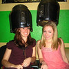 Posing under the hair dryers. Christina and Casey.