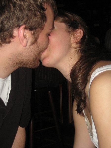 """""""aww""""<br /> <br /> In this photo: Christina Halligan and her boyfriend"""