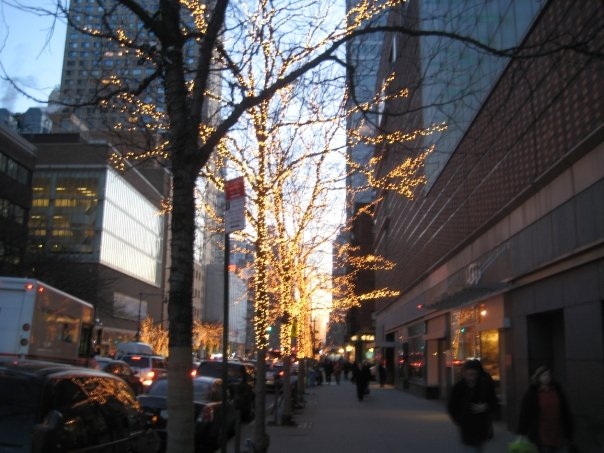 looking down columbus avenue towards lincoln center