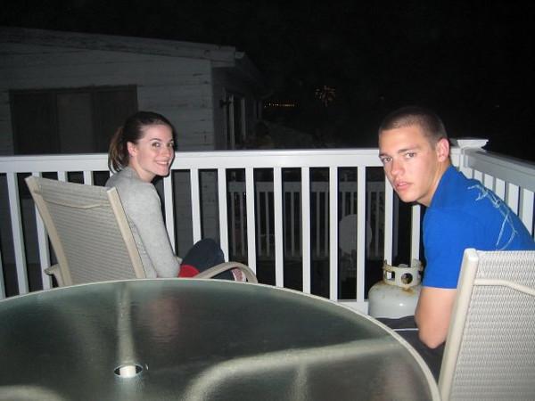 Amber Staska and Brett on the deck in Sea Isle awaiting the ifework display!