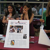 """they look thrilled""<br /> <br /> L to R: Kate Cusimano, Ashley Jeanne Wennersherron, Gabrielle Linzer, Brooke Burdge, working at the Observer table at the Fordham Reunion"