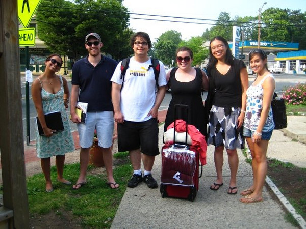 """""""some of my observer loves after the retreat in nj""""<br /> <br /> L to R: Kelsey Butler, Rob Beatson, PJ Williams, Ashley Wennersherron, ?, Katie Feeney<br /> <br /> This photo was taken by Casey after the annual summer Observer retreat that takes place every June in Dr. Stone's backyard in Montclair, NJ. At the retreat, the upcoming year's editorial board gathers with Dr. Stone to discuss the coming year."""
