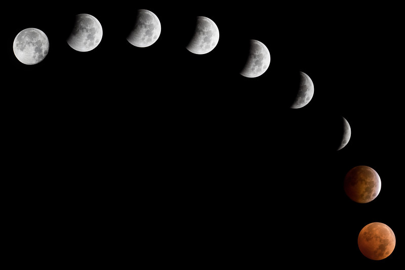 Full Lunar Eclipse in Stages