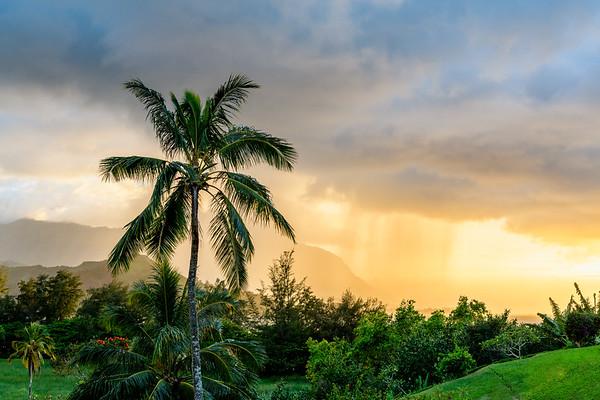 Kauai Rain Clouds at Sunset