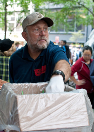 Protest with sprinkles?  Jerry Greenfield, co-founder of Ben & Jerry's, serves cones to demonstrators and passersby at the Occupy Wall Street demonstration in lower Manhattan.  The Vermont-based ice cream company announced public support of the 2011 movement a few weeks after it began.