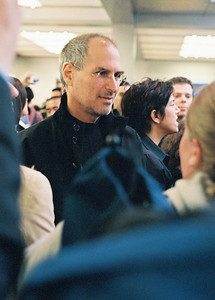 Apple's Steve Jobs at June, 2006, opening of Apple Fifth Avenue store in New York City.