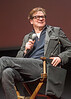 """British actor Colin Firth at a question-and-answer forum following a New York screening of """"Eye in the Sky,"""" a 2015 movie about drone warfare.  He co-produced the movie, which featured Helen Mirren and Alan Rickman."""