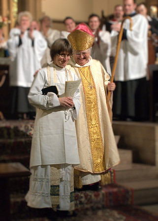 Welcoming a new rector.  Here, the Rev. Erika K. Meyers is installed by Bishop Catherine Roskam at the Episcopal Church of the Good Shepherd in Manhattan on January 27, 2010.