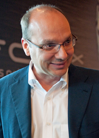 Technology pioneer and Google executive Andy Rubin.  He led the team that developed the Android operating system for smartphones and is seen here at a 2010 Manhattan news conference in which Verizon announced a new phone using the Android OS.