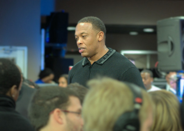 Rapper and record producer Dr. Dre chats with fans at 2009 New York event promoting Club Beats, a line of headphones developed with his collaboration.