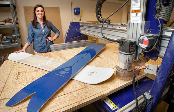 Sarah Darnell, 2013 Industrial Design Excellence Award Winner and her snowboard