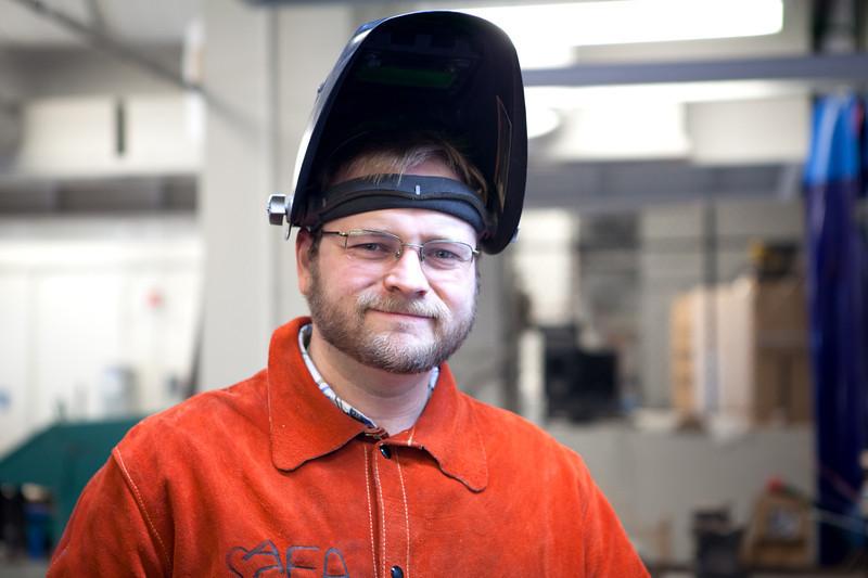 Joe Reed (MFA Drawing) Welding in the Metals Studio.