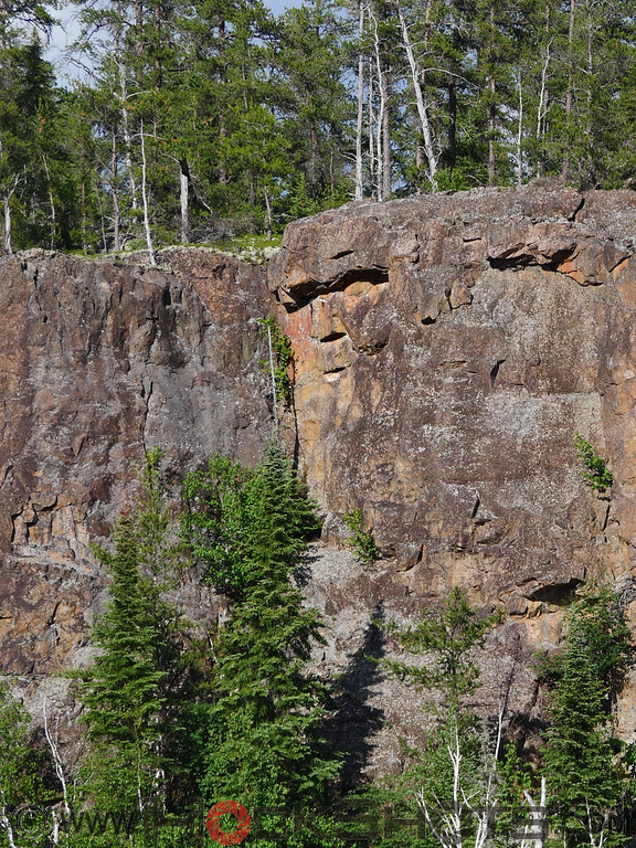 There's just one obvious face in this image, located on a large north-south oriented cliff on the west side of Flavelle Township, just a little to the southwest of Middleton Lake. The escarpment faces almost due west, and the north end of it is visible briefly as you travel Highway 66 eastwards from Matachewan. I hiked in to the base of the cliff during one late afternoon in June, and was greeted by this fellow.