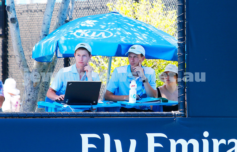 12-1-17. Liam Gruber (right) stats at the 2017 Australian Open. Photo: Peter Haskin