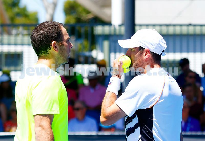 19-1-17. Australian Open 2017. Mens doubles round 1. Scott Lipsky (left), Jonathan Erlich. photo: peter haskin