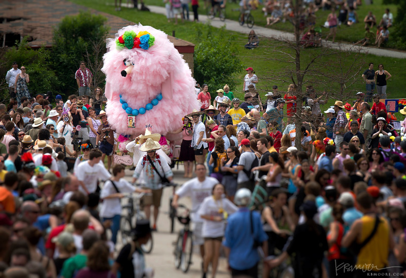 Fifi the poodle at AVAM Kinetic Sculpture Race