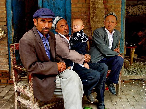 Generations of Uyghur men, Kashgar