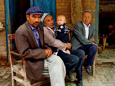 Generations of Uyghur men, Kashgar