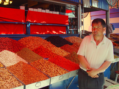 Grape and nut vendor, Kashgar Bazaar