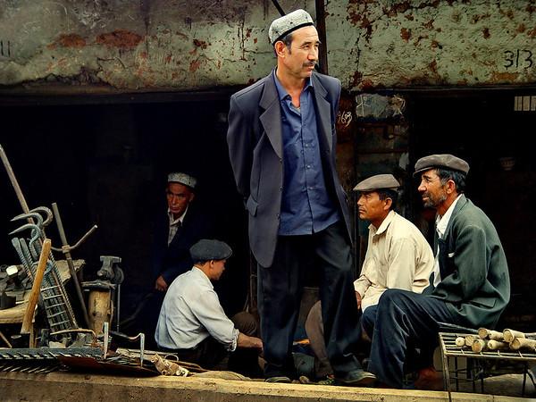 Uyghur men, Kashgar