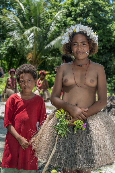 Young woman and girl, Budaluna Island, Laughlan Islands, Papua New Guinea