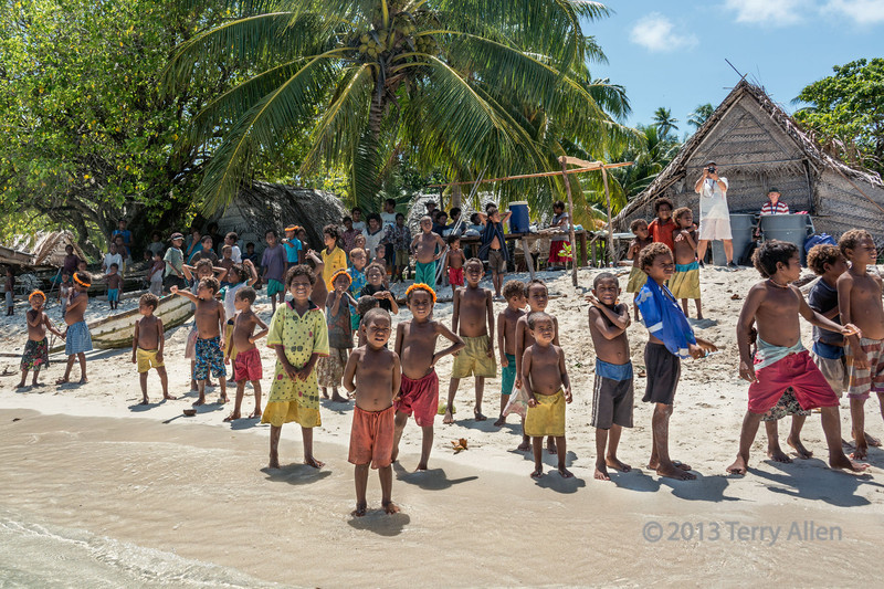 Villagers welcoming us to Bodaluna Island (called Budelun Is on Google Earth), Laughlan Islands, Papua New Guinea
