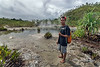 Young man at hot springs, Fergusson Is, D'Entrecasteaux Island, PNG