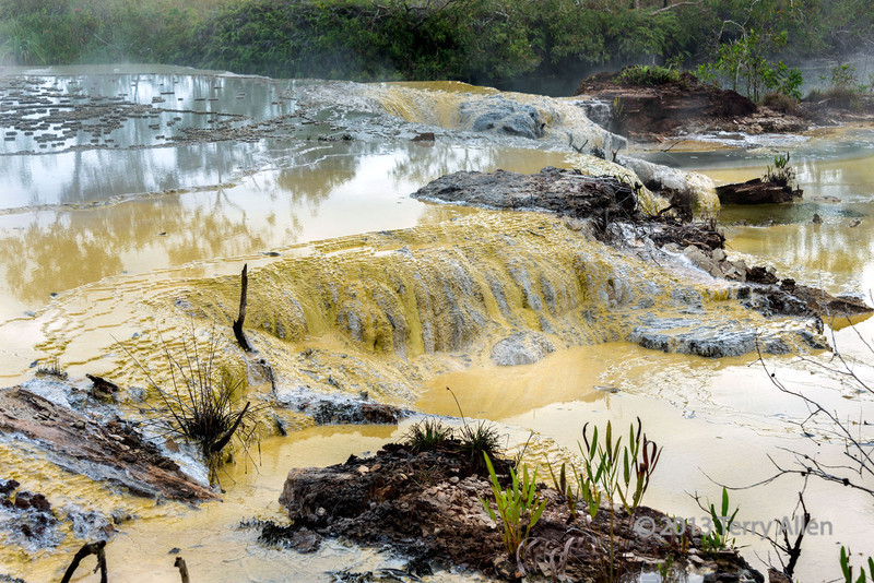 "Sulphur terraces and reflections, Fergusson Is, D'Entrecasteaux Islands, PNG<br /> <br /> 68 mm, 1/160 sec, f10, ISO 160<br /> <br /> More interesting photos of the hot springs can be seen here: <a href=""http://goo.gl/tqFBF"">http://goo.gl/tqFBF</a>"