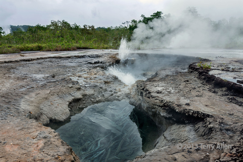 Small geyser at hot springs, Fergusson Is, D'Entrecasteaux Islands, PNG