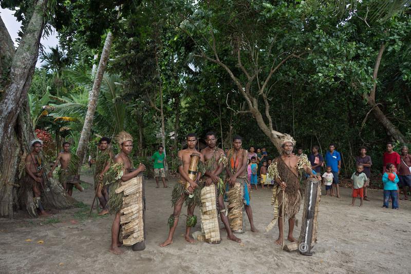 Welcoming warriors, Dobu Is, D'Entrecasteaux Island, PNG