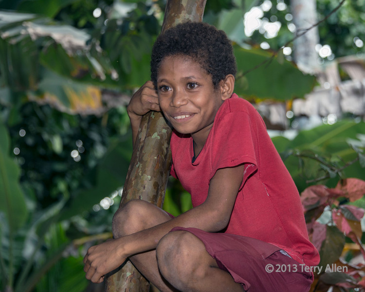 """Portrait of a young girl in a tree, Dobu Island, D'Entrecasteaux Islands, PNG<br /> <br /> This girl caught my eye, not only for her perch in a tree, but for her bright dress that picked up the colours of the leaves behind her, and for her wide eyed expression of interest in our party of visitors.<br /> <br /> Arctangent remarked that many of the villagers are wearing western clothing.  William Henry Bromilow, an Australian, was the founder of the Methodist mission in British New Guinea in 1891. Because of its central position, and the prestige of its inhabitants among their neighbours, Dobu Island was chosen as his headquarters. Bromilow established mission stations throughout the D'Entrecasteaux and Trobriand Islands and the Louisiade Archipelago, as well as boarding schools for girls and boys, and a training institution for local teachers and pastors. Like so many missionaries in those days, he did not approve of many of the values and customs of the Melanesian peoples and he helped to destroy traditional customs wherever they conflicted with his own moral standards.  We noticed a negative correlation in the various islands between the presence of women with bared breasts (which is traditional) and the 'civilizing' influence of missionaries.<br /> <br /> The Bromilow Memorial is located on Dobu Island and a couple of photos of it can be seen here: <a href=""""http://goo.gl/23cF1"""">http://goo.gl/23cF1</a>.  These are the last of the photos from Dobu Island; next stop the Trobriand Islands, the famous 'love' islands of Margaret Mead. <br /> <br /> 112 mm, 1/125 sec, f 6.3, ISO 640, flash fill"""