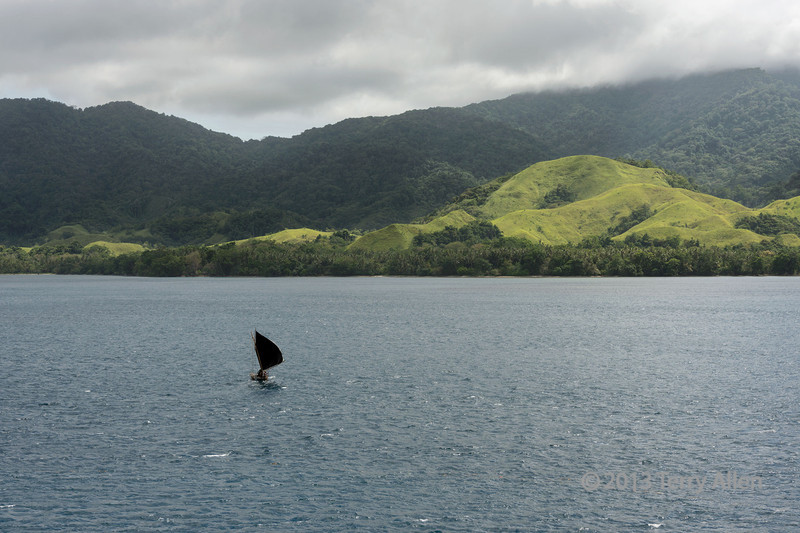 Outrigger sailing off Normanby Isl-2, D'Entrecasteaux Is, PNG