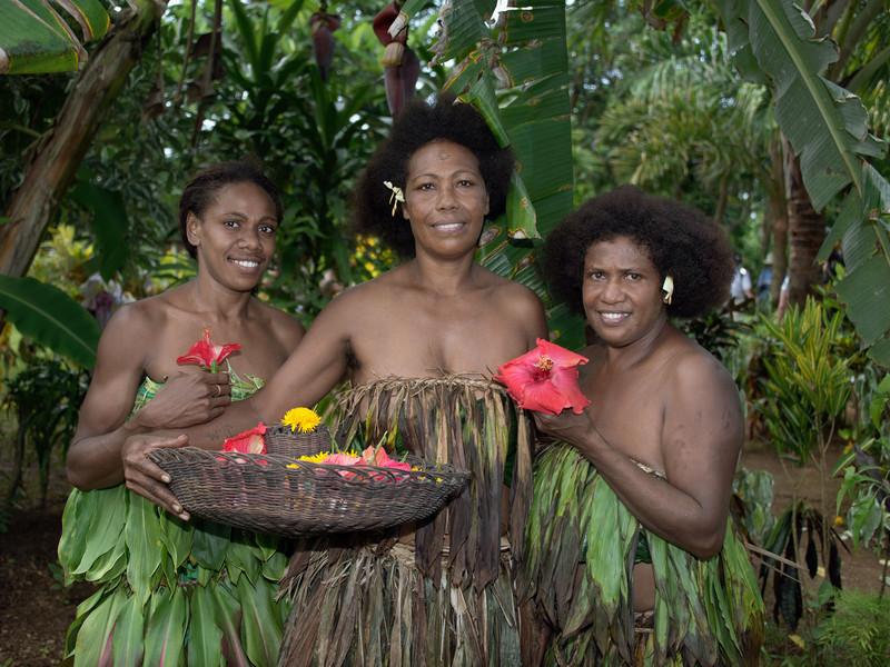 Three women, Nekar Village, Luganville, Espiritu Santo Is, Vanuatu