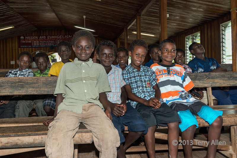 Boys at Sunday school, Easter Sunday, Wesley United Church, Ghizo Is, Solomon Islands