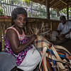 Woman weaving basket, Honiara, Guadalcanal Is, Solomon Islands