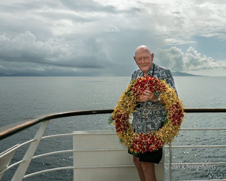 WWII vet Bob Benner throwing wreath at Iron Bottom Sound, Guadalcanal Is, Solomon Islands<br /> <br /> Every year on the battle's anniversary, a US ship in the area cruises into the waters and drops a wreath to commemorate those who lost their lives.