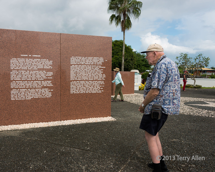 "'U' is for 'Unforgotten'<br /> <br /> WWII vet lost in his memories at the US War Memorial, Honiara, Guadalcanal Is, Solomon Islands.  Some of the text is reproduced below.<br /> <br /> After repulsing the heavy Japanese attacks in October, American troop strength on Guadacanal was increased again by bringing the 1st and 2nd batalions, 2nd Marines from Tulagi to Guadalcanal, and returning the 3rd batalion to Tulago.  On 4 November the 9th Marines of the 2nd Marine Division arrived, eight days later two batalions of the 182nd Infantry Regiment of the Americal Division were landed.<br /> (content truncated)  <br /> For four long months the 1st Marine Division reinforced had borne the brunt of a long, continuous battle, during which it inflicted far greater casualities upon the enemy than it suffered.  It had also endured the hot, steamy, tropical, disease-infected jungle, which, in its own way, was a worse enemy.  Of all diseases to which the division was exposed, malaria presented the greatest problem.  The Division's tour of duty had been twice the length that medical officers believed could be endured under such conditions.  On 22 December the 1st Marines left the island, followed by the 7th Marines on 5 January, 1943.<br /> <br /> For an absolutely fascinating account about the completely chaotic sea battle on Iron Bottom Sound (The Slot), which was grossly mismanaged on both sides, see here: <a href=""http://www.historynet.com/battle-of-guadalcanal-first-naval-battle-in-the-ironbottom-sound.htm"">http://www.historynet.com/battle-of-guadalcanal-first-naval-battle-in-the-ironbottom-sound.htm</a><br /> <br /> Other photos from the War Memorial and of the wreath dropping ceremony in Iron Bottom Sound can be seen here: <a href=""http://goo.gl/7QntyV"">http://goo.gl/7QntyV</a><br /> <br /> 1/12/13  <a href=""http://www.allenfotowild.com"">http://www.allenfotowild.com</a>"