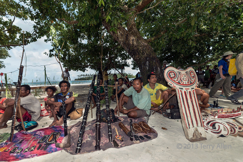 Carvers with their artifacts-2, Kitava Island, Trobriand Islands, PNG