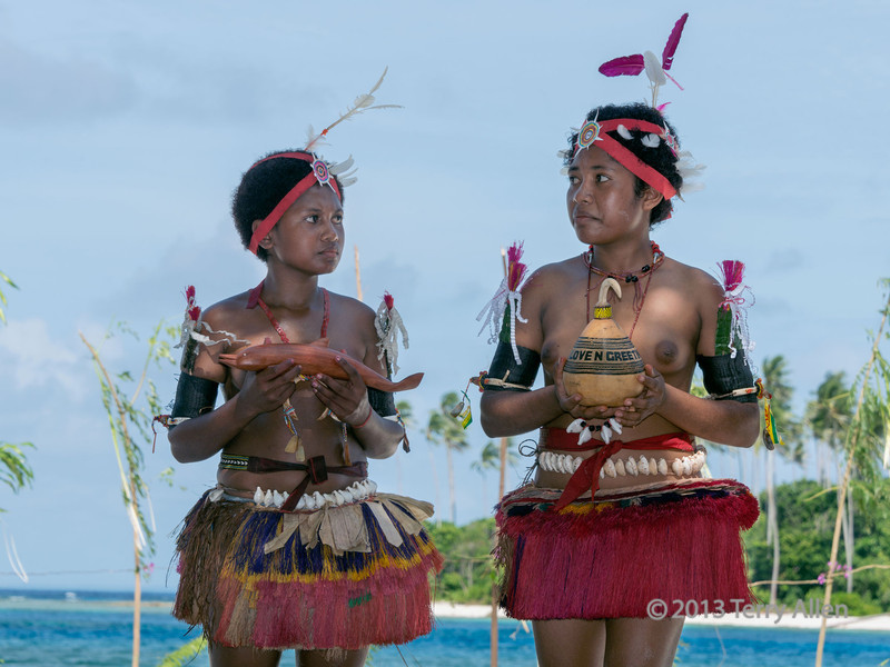 Young women with gifts, Kitava Island, Trobriand Islands, PNG