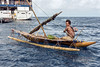 Outrigger canoe and Clipper Odyssey, Kitava Island, Trobriand Islands, PNG